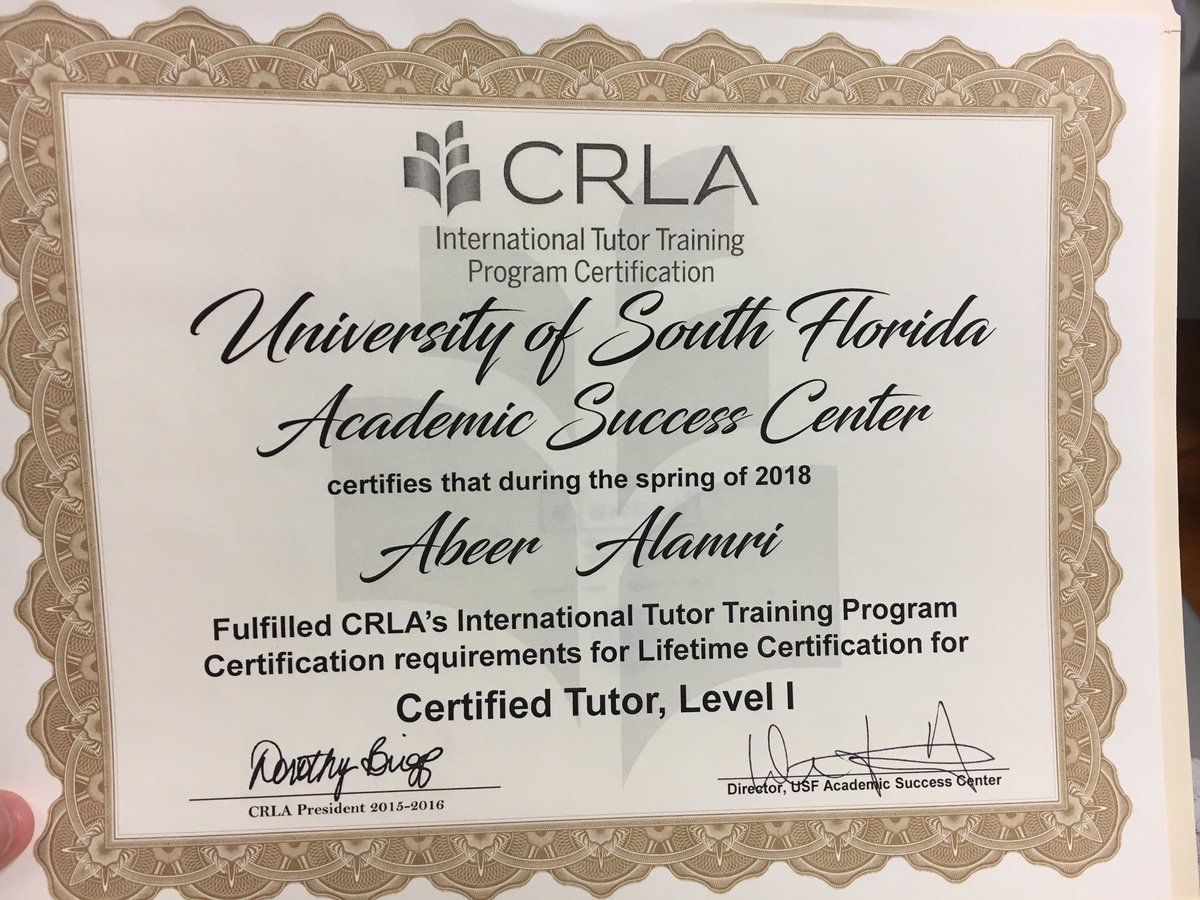 Abeer A Alamri Phd On Twitter Becoming A Certified Tutor From
