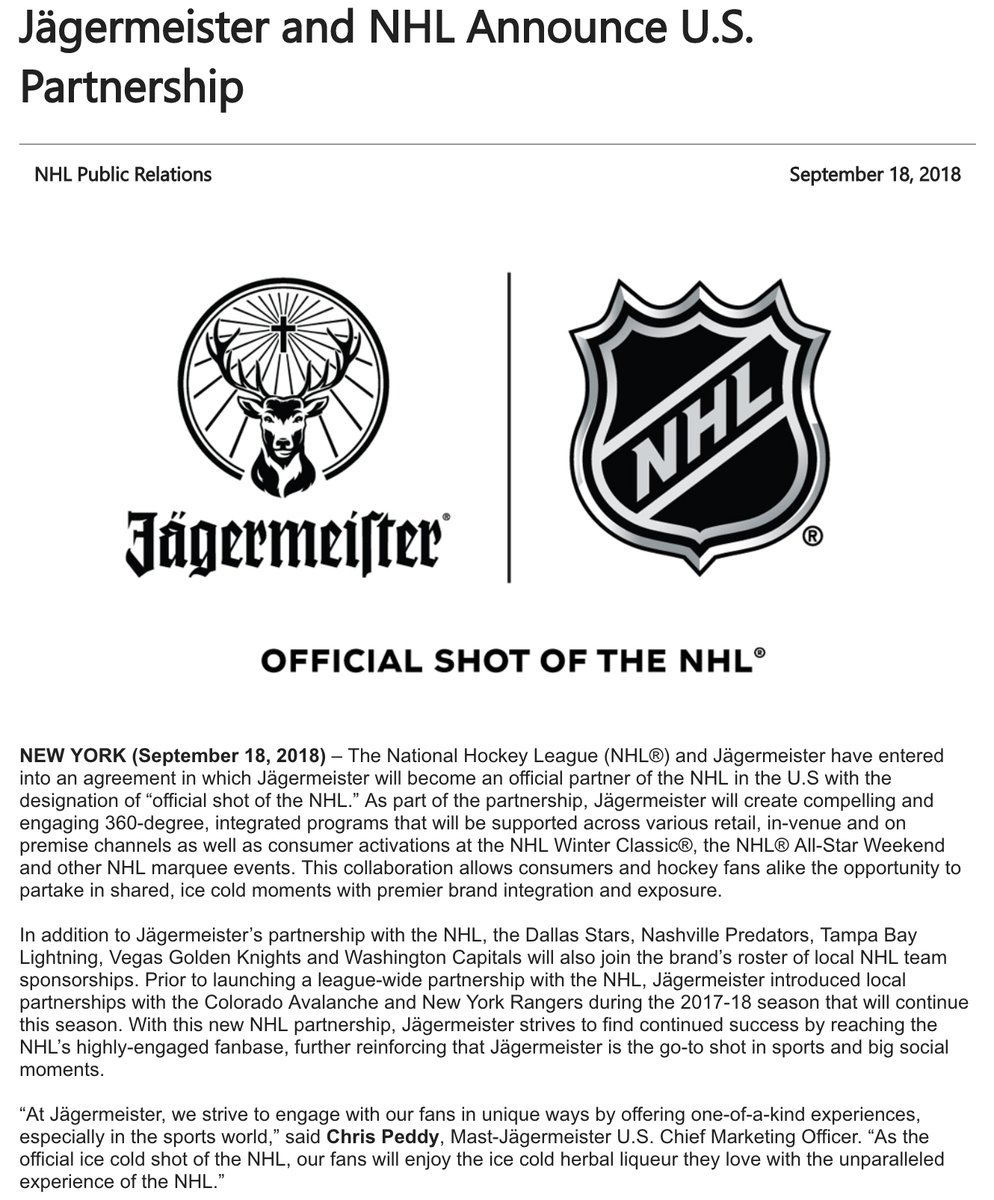 Greg Wyshynski On Twitter So The Nhl Now Has Partnerships With