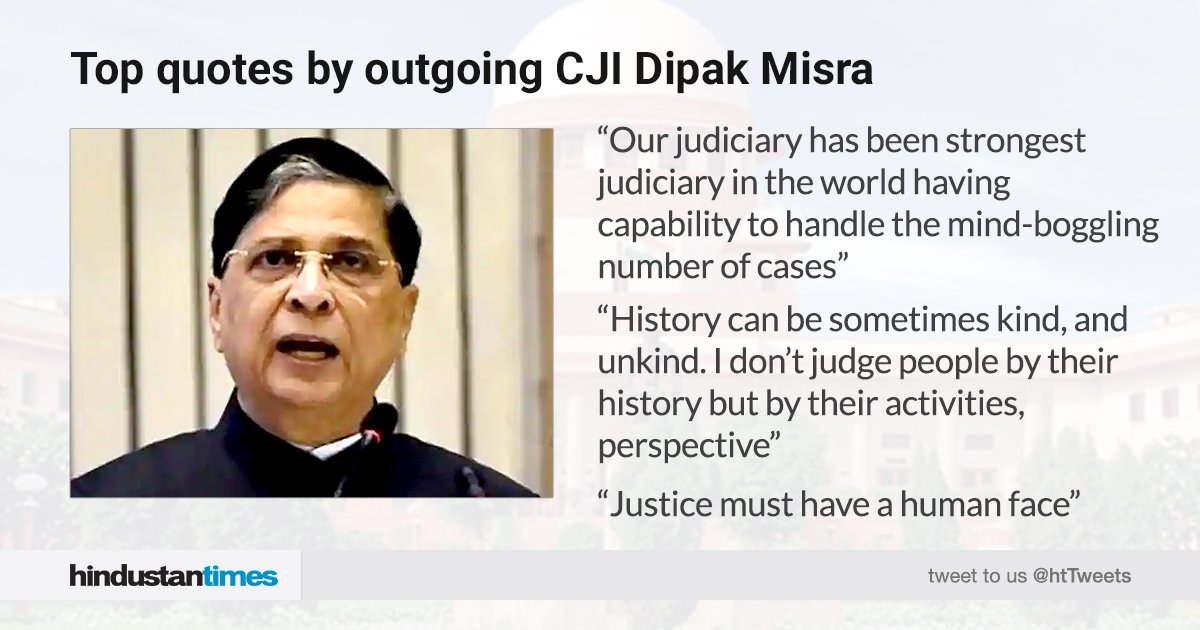 "#TopQuotes | ""Indian judiciary is the most robust institutions in the world,"" outgoing CJI #DipakMisra said at his farewell function in Delhi.   READ full story here:   https:// goo.gl/fgs8vr     <br>http://pic.twitter.com/kYUiw2sfhd"