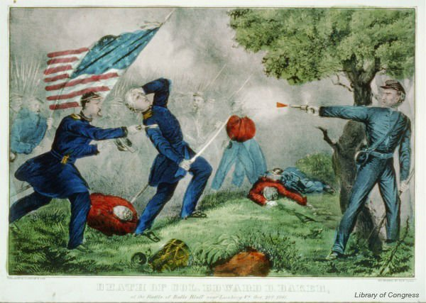 Edward Baker of Oregon became the 1st and only sitting senator to die in battle #OTD in 1861 https://t.co/bN1PDZWCdU