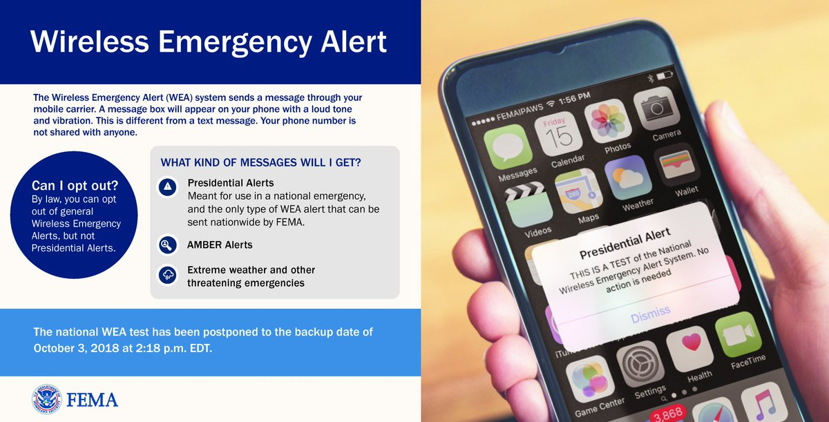 REMINDER: Tomorrow, 10/3 at 2:18 PM EDT, there will be a nationwide test of the Wireless Emergency Alert system, in coordination w/ . You'll get a message on your phone with a tone & vibration. This is not a text & your phone number is not shared with anyone.