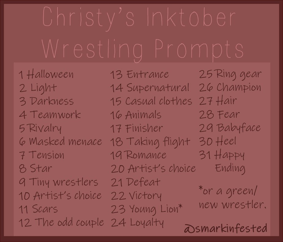 Id Love To See What You Come Up With So Please Tag Me Lets Try And Get To  Together Guys Inktober Wrestlinginktober Njpwfanart