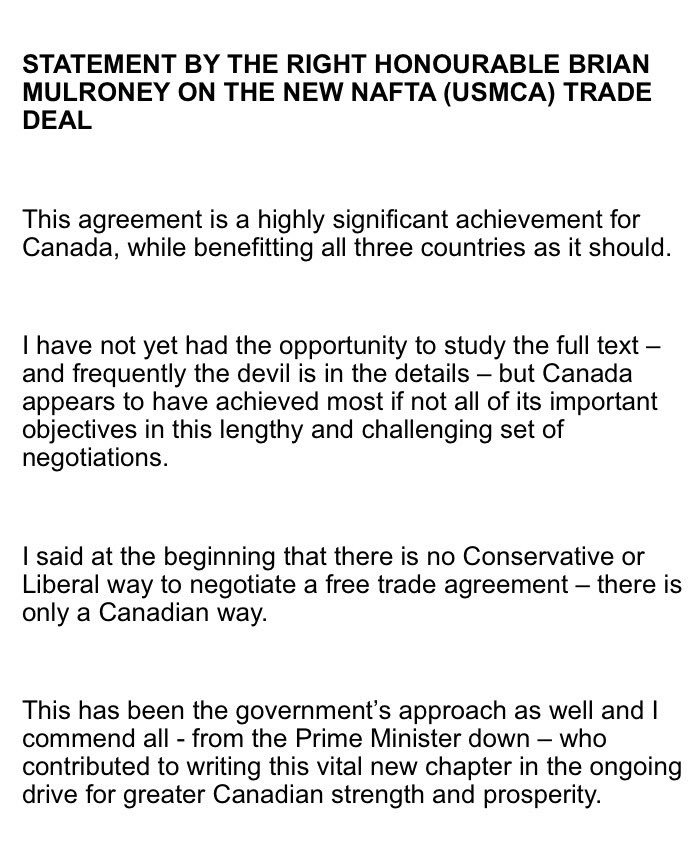 Brian Mulroney statement on #USCAM #cdnpoli
