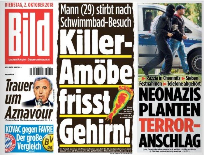 Ja, okay, Neonazi-Terroristen. ABER DIE GEHIRNFRESSENDEN KILLER-AMÖBEN!!! @Bild