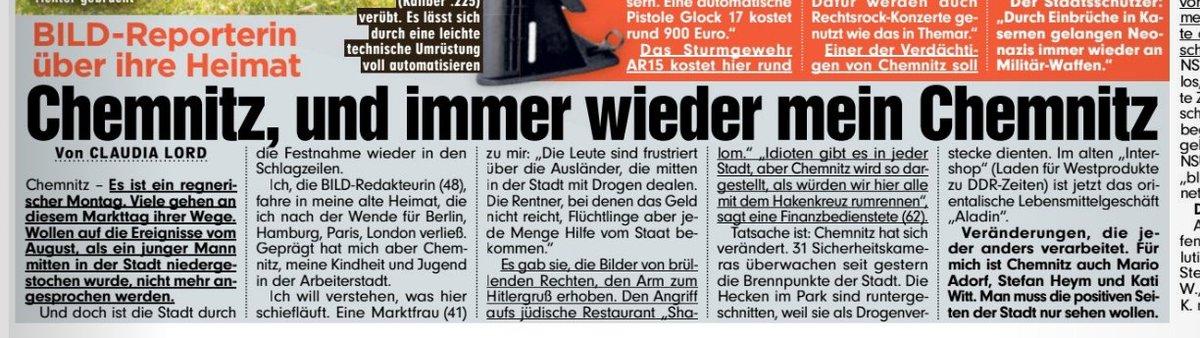 """In #Chemnitz wird eine Neonazi-Gruppe aufgedeckt, die Ausländer umbringen wollte. Aus diesem Anlass weist @BILD darauf hin, dass in der Stadt jetzt Ausländer mit Drogen dealen und es ein orientalisches Lebensmittelgeschäft gibt: """"Veränderungen, die jeder anders verarbeitet."""""""