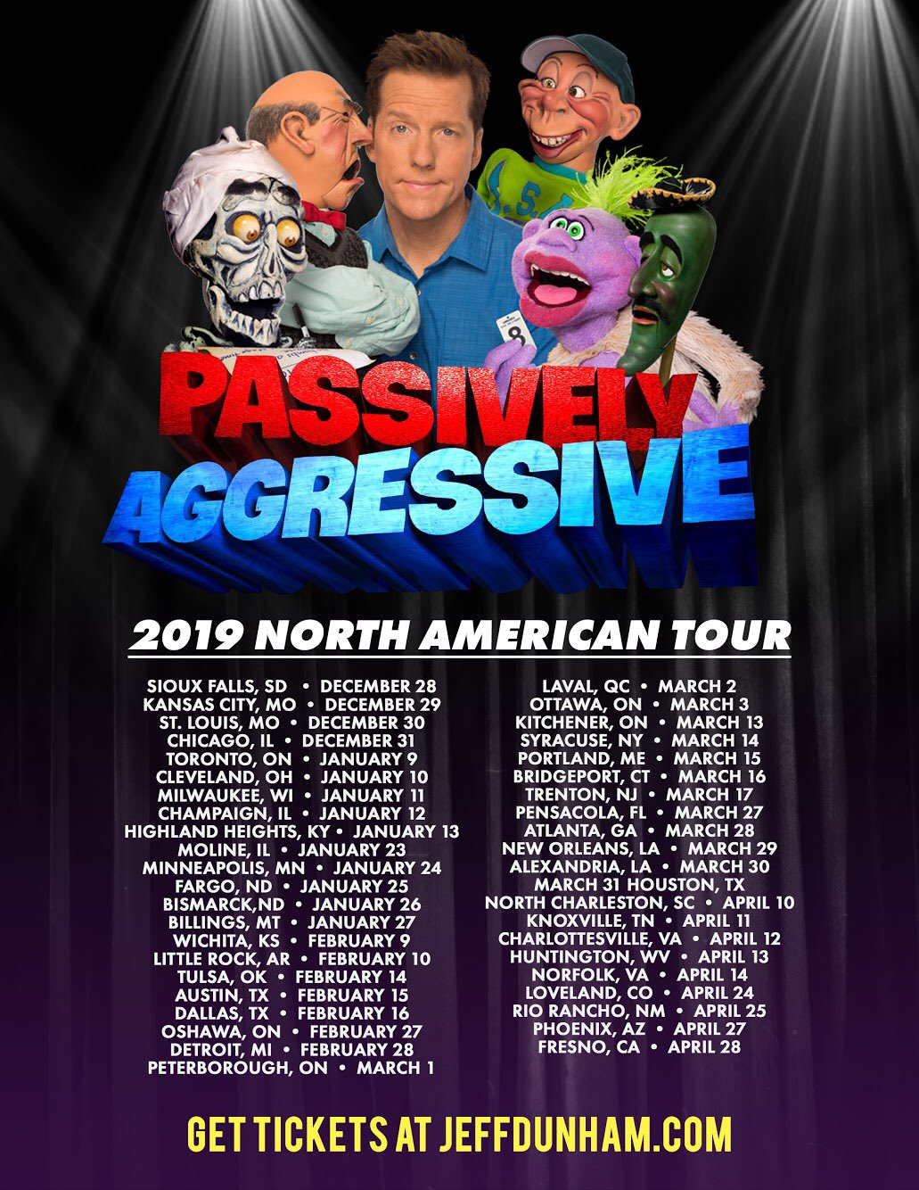 """Offer Up Los Angeles >> Jeff Dunham on Twitter: """"Tickets are now on sale for you to see all of the guys in the trunk and ..."""