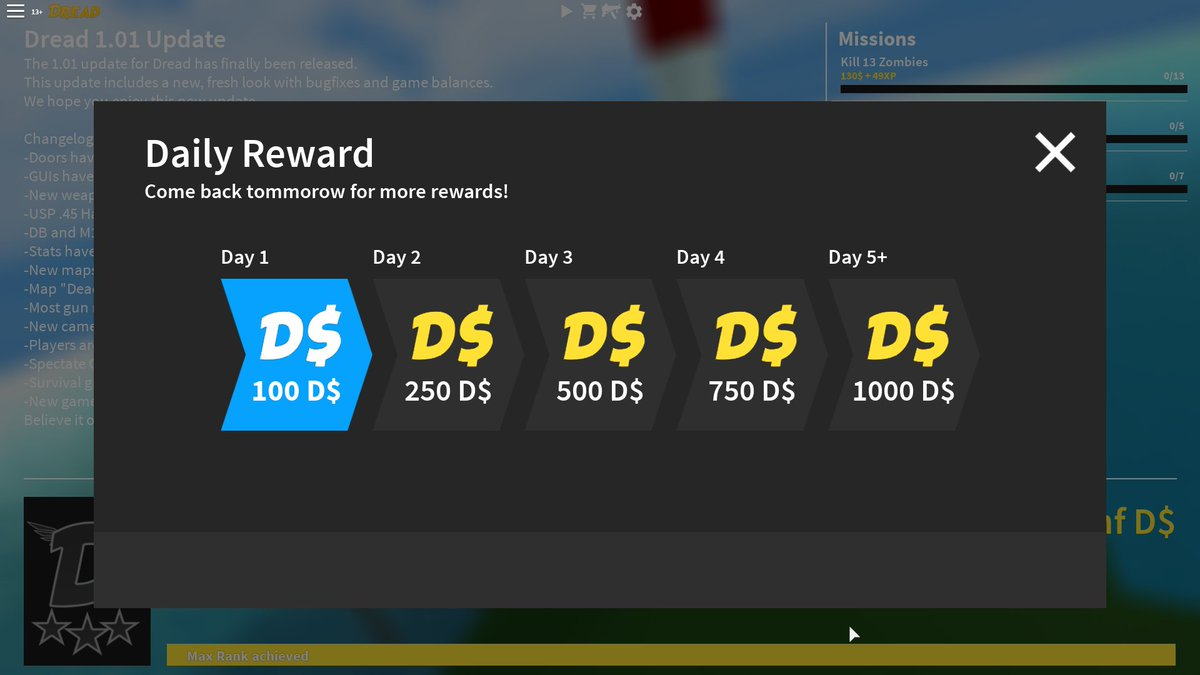 Dread Roblox Codes Bakonbot On Twitter Daily Rewards Are Coming To Dread 1 02 Roblox Robloxdev Dreadrblx