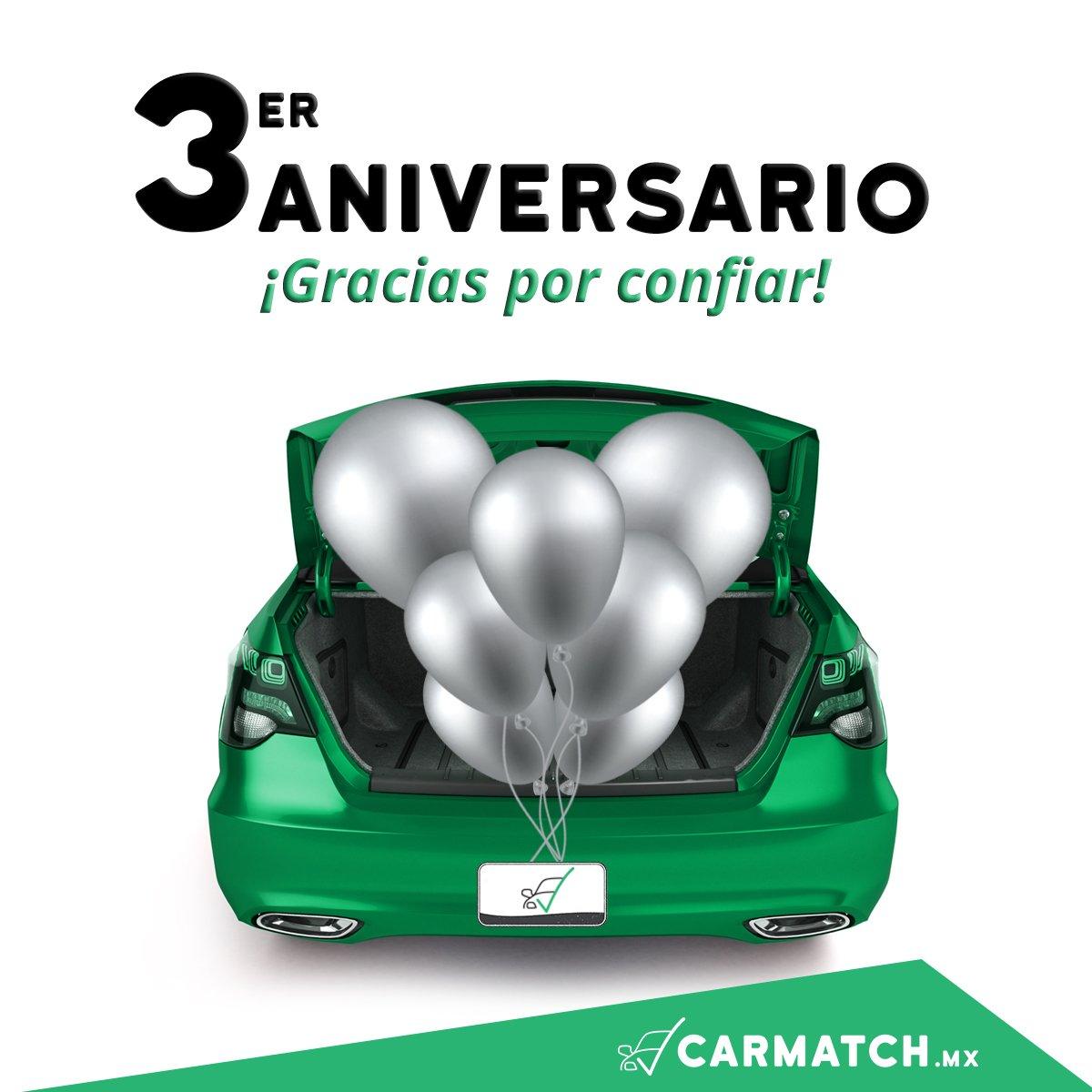 ¡Estamos de aniversario!  Carmatch México cumple 3 años ayudándote a vender tu auto de manera segura y rápida.  ¡Mil Gracias!  https://t.co/x7Tpoiwhae https://t.co/pvLNzwniB5