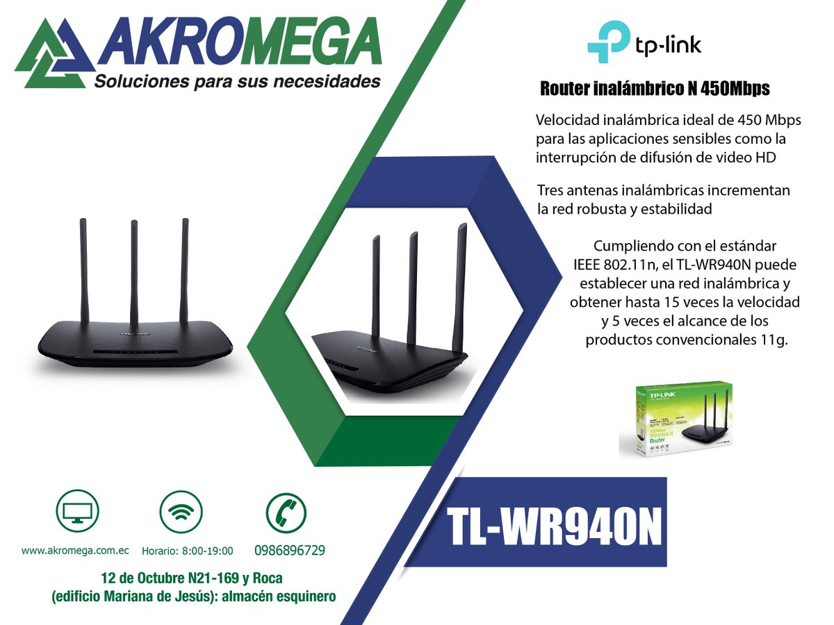 Akromega On Twitter Router Inalmbrico N 450mbps Tl Wr940n Tp Link Wireless