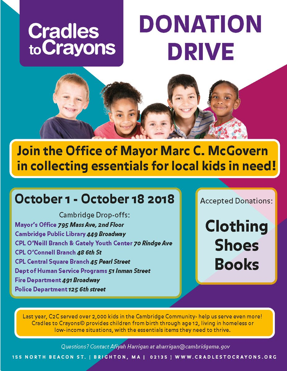 Starting today till October 18th there will be multiple drop off locations for clothing items, shoes and books! Check out Find It Cambridge to learn more!