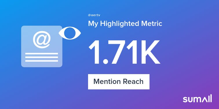 My week on Twitter 🎉: 1 Mention, 1.71K Mention Reach, 3 New Followers. See yours with https://t.co/OoxjxRcUjn https://t.co/Gyt5iwfH5y