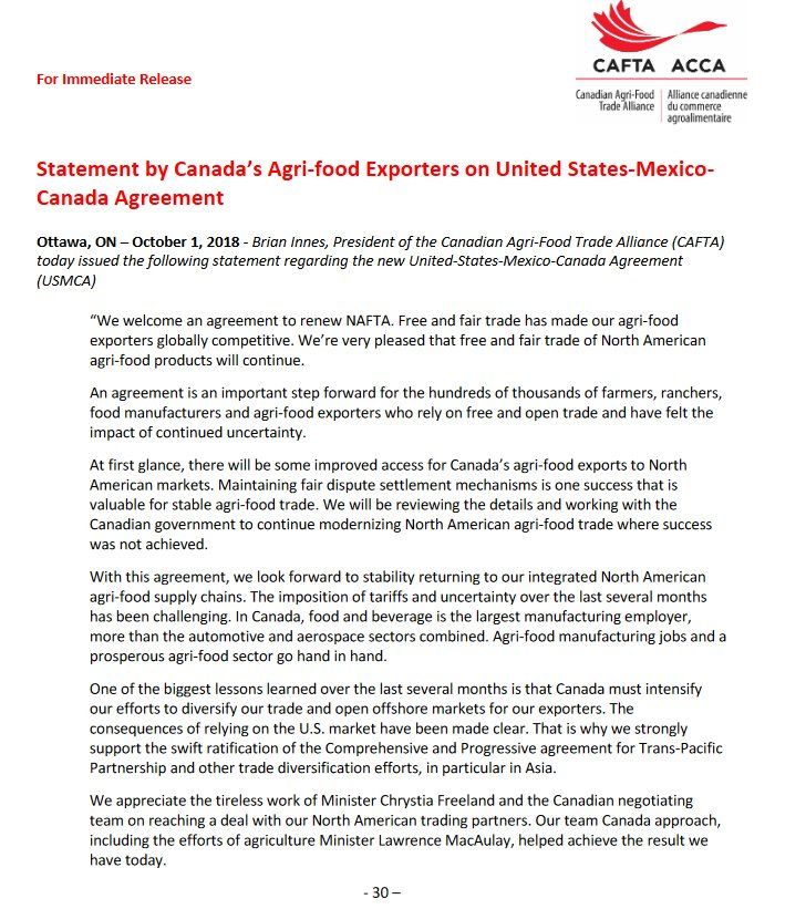 Cafta Accas Tweet Cafta Statement On Usmca We Welcome