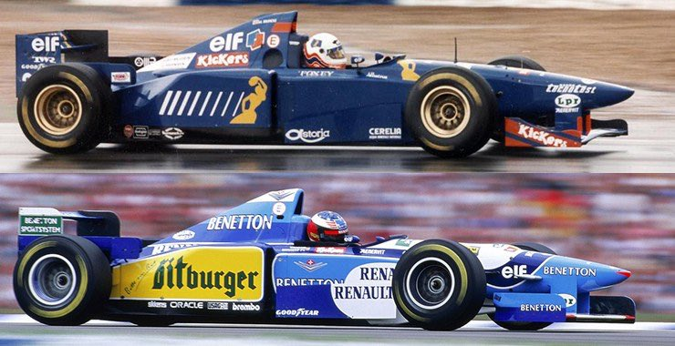 "F1 in the 1990s 🚦🏎🏁🏆🍾 on Twitter: ""The Ligier-Renault B195 & Benetton  Mugen-Honda JS41.... or should I say correctly, the Ligier Mugen-Honda JS41  & Benetton-Renault B195. Both chassis virtually the same, which"