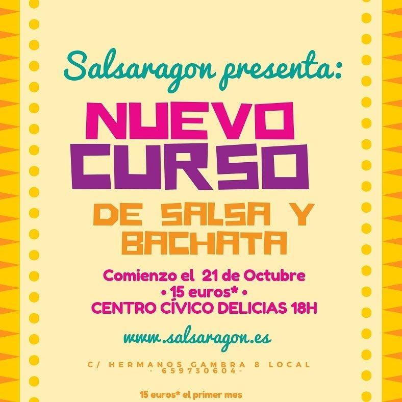 42638df60b94 Nuevo curso de salsa y bachata el proximo 21 de Octubre. DOMINGOS 18H CC.  DELICIAS. 15€ el primer mes. ➡salsaragon@salsargon.es 6⃣5⃣9⃣7⃣3⃣0⃣6⃣0⃣4⃣ ...