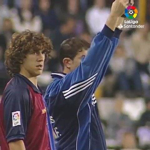 Happy birthday to Carles Puyol. Here he is making his debut as a fresh-faced 21-year-old against Real Valladolid.