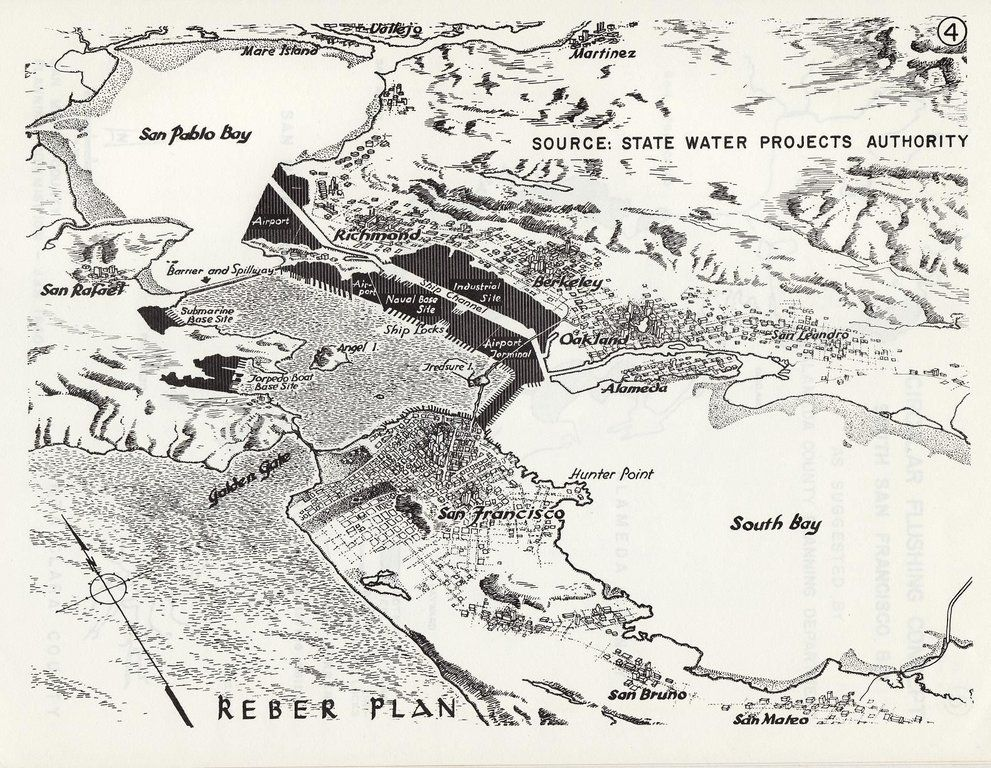 The Reber Plan: Proposal for two dams that turn San Pablo Bay and South San Francisco Bay into freshwater lakes while the East Bay Tidelands and Richardson Bay are filled in for a deepwater port, airports, and military bases (1949). Source: reddit.com/r/MapPorn/comm…
