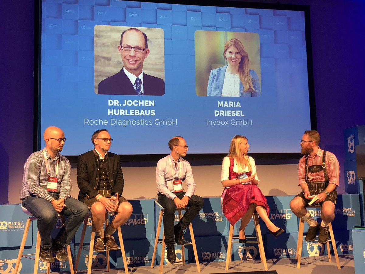 """""""Startup Hub Talk"""" at @bitsandpretzels  with our @Roche champion Jochen Hurlebaus and #batchzero #health startup @inveox Maria Driesel about collaboration models between corporates and startups #transformhealthcaretogether #collaboration #innovation #Health https://t.co/tBPMeAJrVQ"""