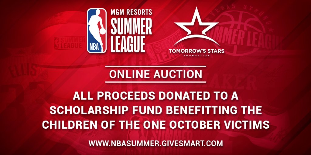 The NBA Summer League is #VegasStronger. We are launching our online auction where fans can bid on #NBASummer memorabilia. Proceeds will be donated to a scholarship fund benefitting the children of the One October victims. Click here to view the items: e.givesmart.com/events/7Fs/i/
