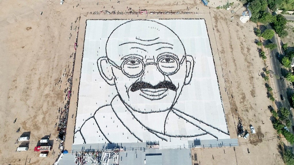 Gujarat pays rich tribute to Bapu on birth anniversary, over 5000 students form countenance of Gandhiji in his hometown
