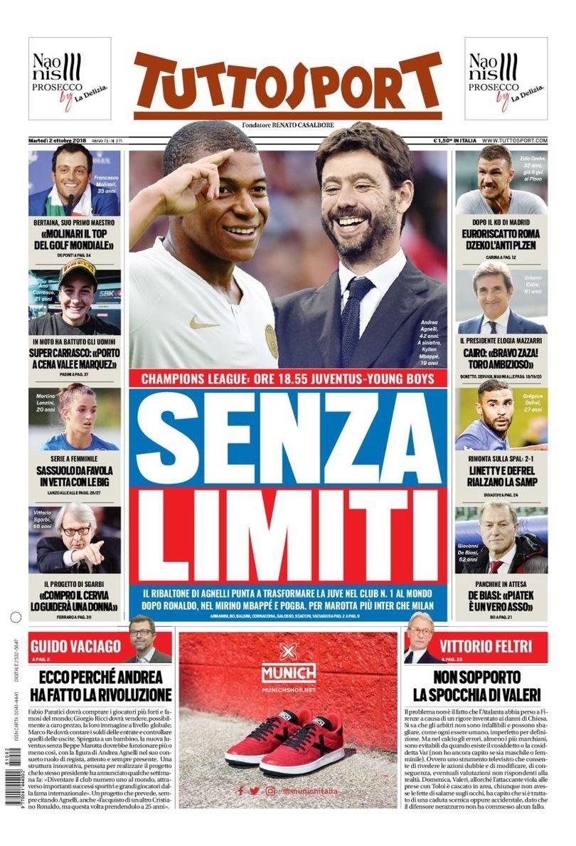 La portada de Tuttosport con Mbappé en la mira de la Juventus