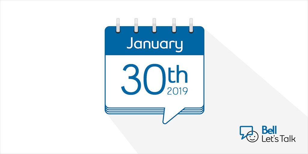 Did you hear? #BellLetsTalk Day is January 30, 2019! Retweet to help us spread the word. https://t.co/clvc6hXTn7