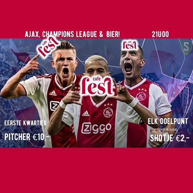 Komt dat zien, komt dat zien. Gaat Bayern nat vanavond? Wij in ieder geval wel! Eerste 15 min, pitcher €10,- elke doelpunt (voor Ajax) shotje €2,-! . . . . #dealtjespakken #bayaja #cafefest