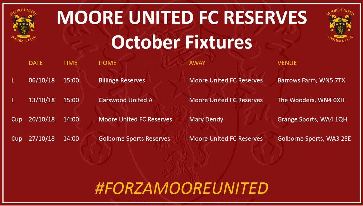 🔜  Upcoming October Reserve Team fixtures...  🆚 @BillingeFC Res 06/10/18 🆚 @GarswoodUTDFC A 13/10/18 🆚@MaryDendyFC 20/10/18 🆚 @golborne_fc Res 27/10/18