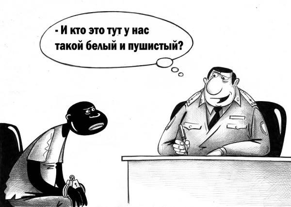 Карикатура Белый и пушистый
