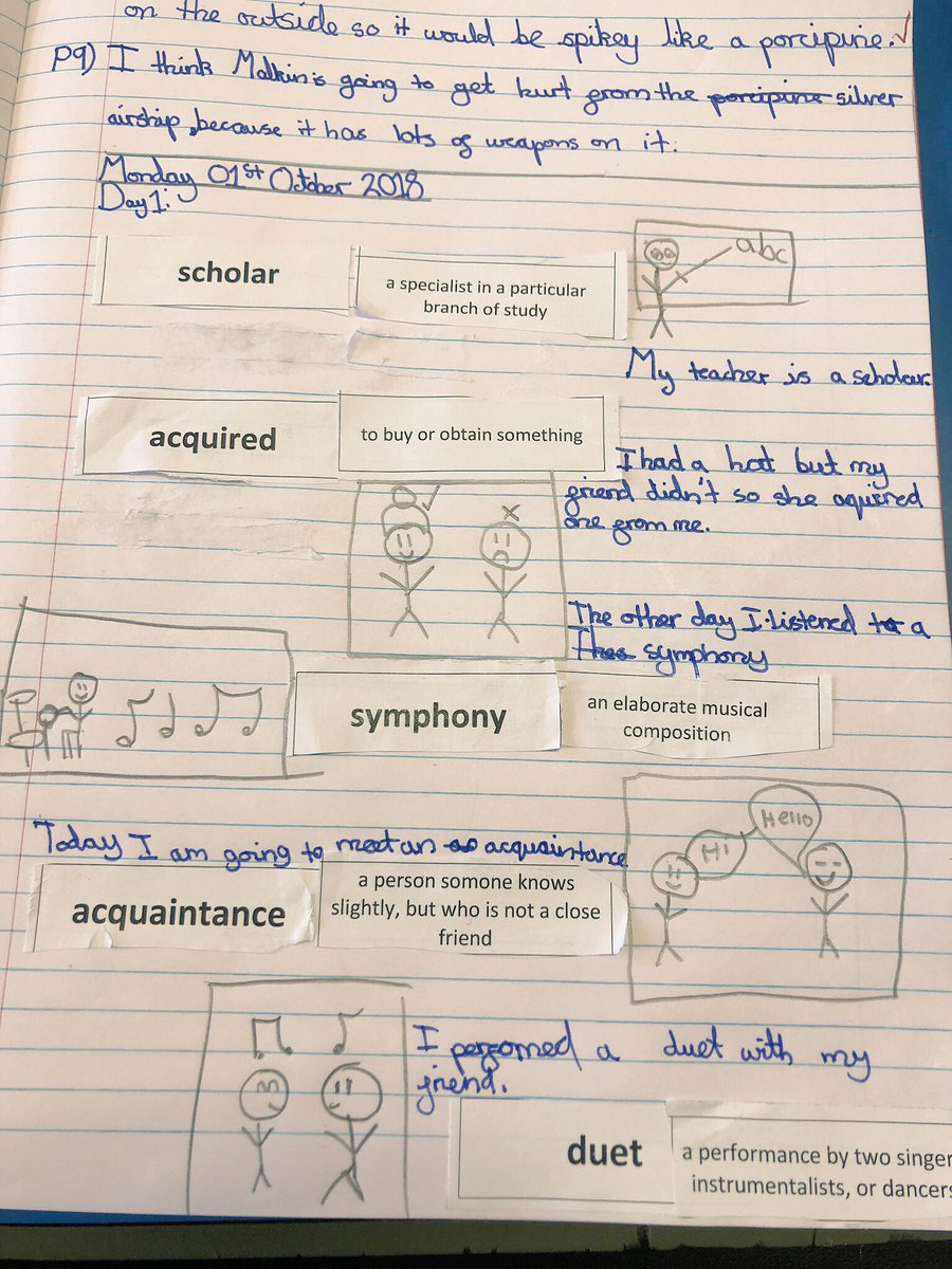 Quick and simple vocab lesson y'day based on #Rooftoppers by @kdbrundell which we're looking at in reading this week. Children had to match word to meaning, draw a picture to represent the word and then use the word in their own sentence. Today, they ALL knew what they meant pic.twitter.com/tjEMOpQHKe
