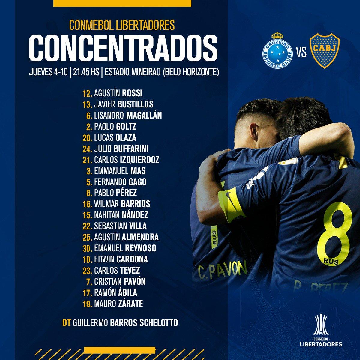 Boca divulga relacionados para jogo com Cruzeiro e confirma presença de atacante; veja lista