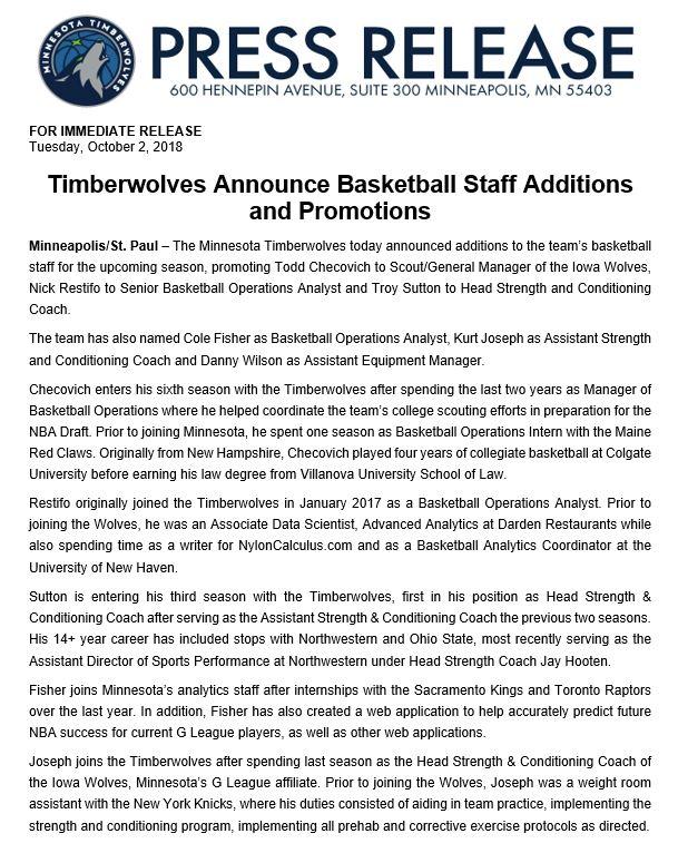 Timberwolves PR on Twitter:
