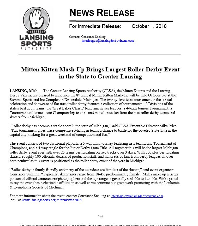 Read Full Press Release Here:   http://www.lansingsports.org/articles/post/mitten-kitten-mash-up-brings-largest-roller-derby-event-in-the-state-to-greater-lansing/ …  #MittenKitten #2018MittenKitten #LansingSports #MK2018