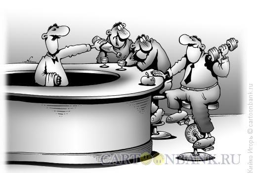 Карикатура Спортсмен в баре