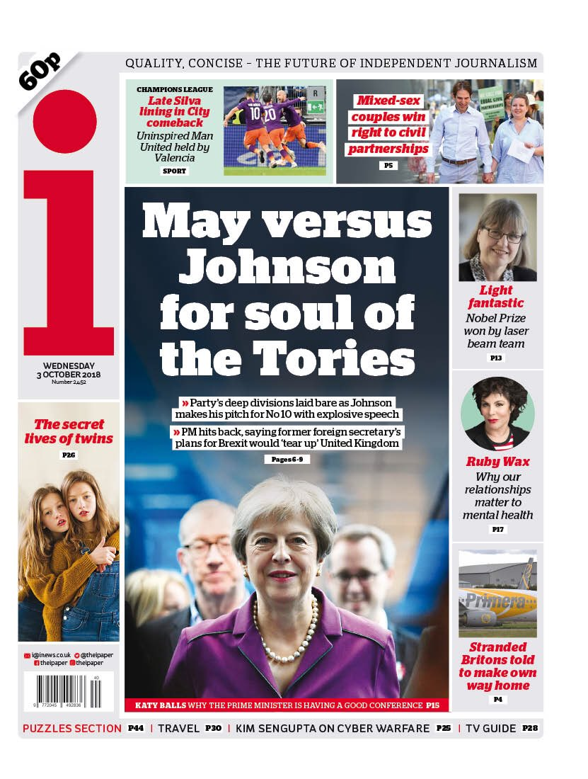 "Wednesday's i  ""May versus Johnson for soul of the Tories'  #tomorrowspaperstoday #bbcpapers (via @AllieHBNews) https://t.co/FZw08bcLTK"