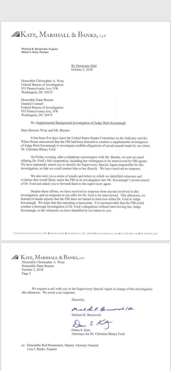 Professor Blasey Ford's attorneys write to the FBI https://t.co/QB6LvB6CxU