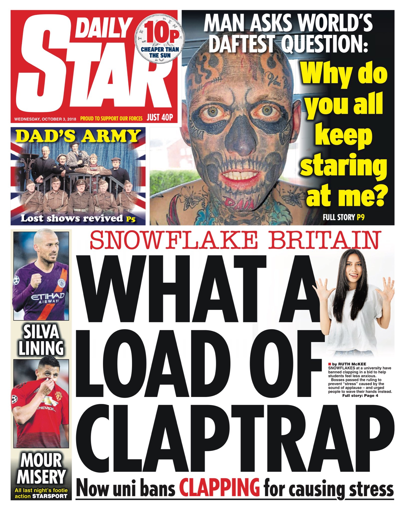 """Wednesday's Daily Star """"What a load of claptrap""""  #tomorrowspaperstoday #bbcpapers (via @AllieHBNews) https://t.co/Z1ZGsZ4ZLs"""