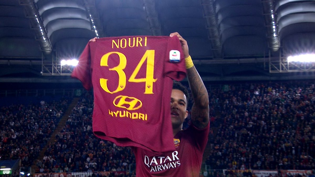 🇳🇱 Appie Nouri is recovering from severe brain damage.  📝 Justin Kluivert signed for @OfficialASRoma & chose the no.34 shirt which Nouri wore for @AFCAjax.   ⚽️ Kluivert scored his first @OfficialASRoma goal vs Plzen.  👕 He celebrated by paying tribute to Appie.  👏 Class.