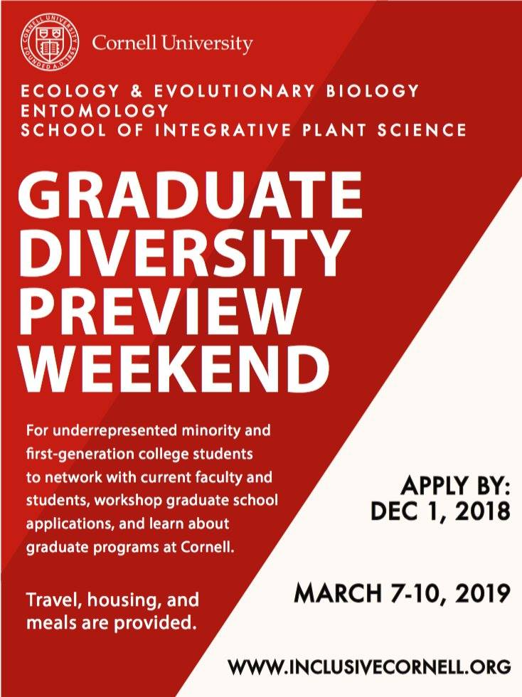 2019 DPW announced! Grassroots effort by EEB graduate students brings diverse candidates into grad applicant pipeline. Intended for juniors/masters applying Dec2019 ** Spread the word** to qualified students interested in Plant Sci, Entomology, or EEB @CornellGrad @Cornellento