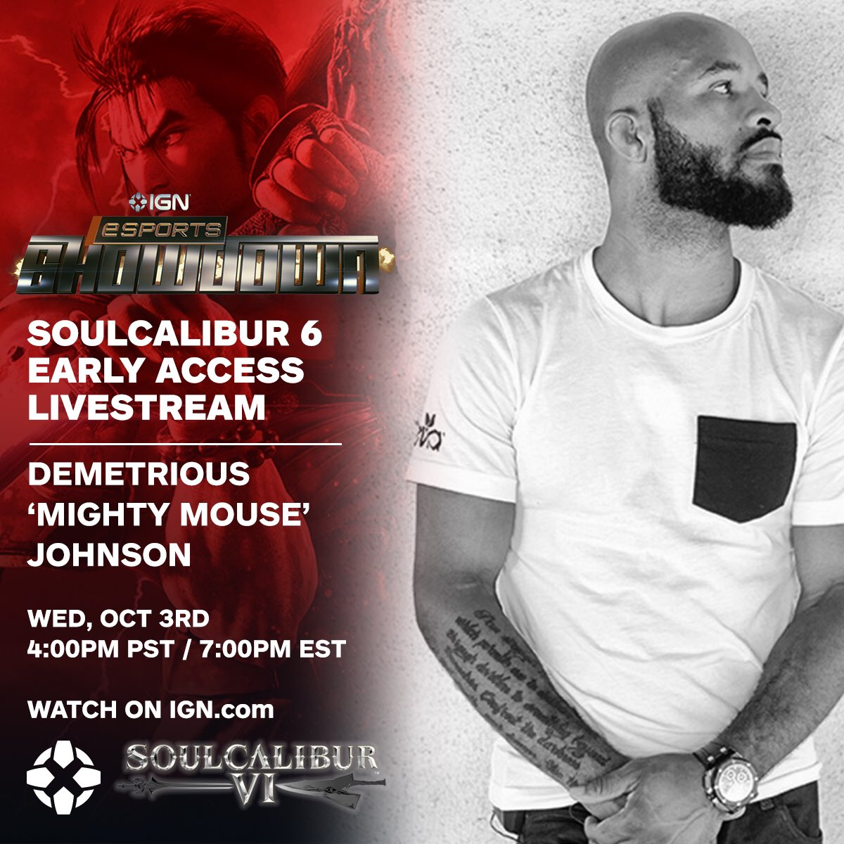 I'm facing off in the @IGN esports showdown tomorrow night at 7PM EST. Watch me play Soulcalibur VI Live! https://t.co/bWKwgAbgRz