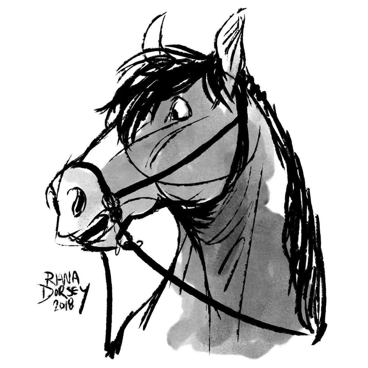I was gonna do more realism but today I was like 'nah' so here's a cartoony pony ♥ #inktober #inktoberday2