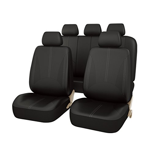 Black and Beige NEW ARRIVAL CAR PASS 11PCS Luxurous Leather Universal Car Seat Covers Set,Universal fit for Vehicles,Cars,SUV,Airbag Compatible