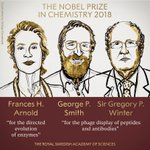 BREAKING NEWS:  The Royal Swedish Academy of Sciences has decided to award the #NobelPrize in Chemistry 2018 with one half to Frances H. Arnold and the other half jointly to George P. Smith and Sir Gregory P. Winter.