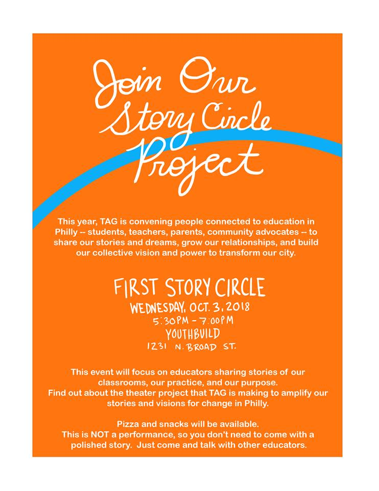 Hope to see y'all tonight @TAGPhilly's Story Circle! #PhlED