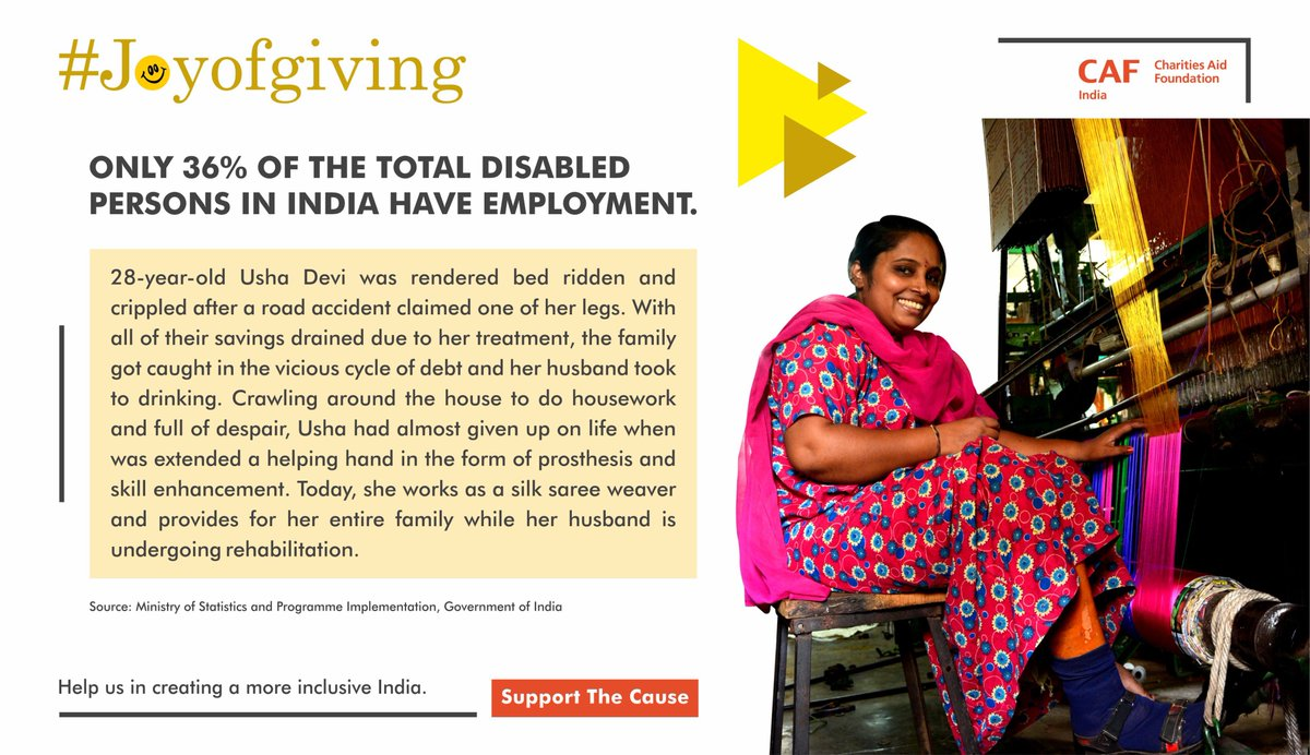 On the 2nd day of #joyofgiving week we bring to you the story of Usha Devi. Hep us create a more inclusive India https://bit.ly/2xRTgMj  #Accessibleindia #sugamyabharat #7daysofjoy #DaanUtsav