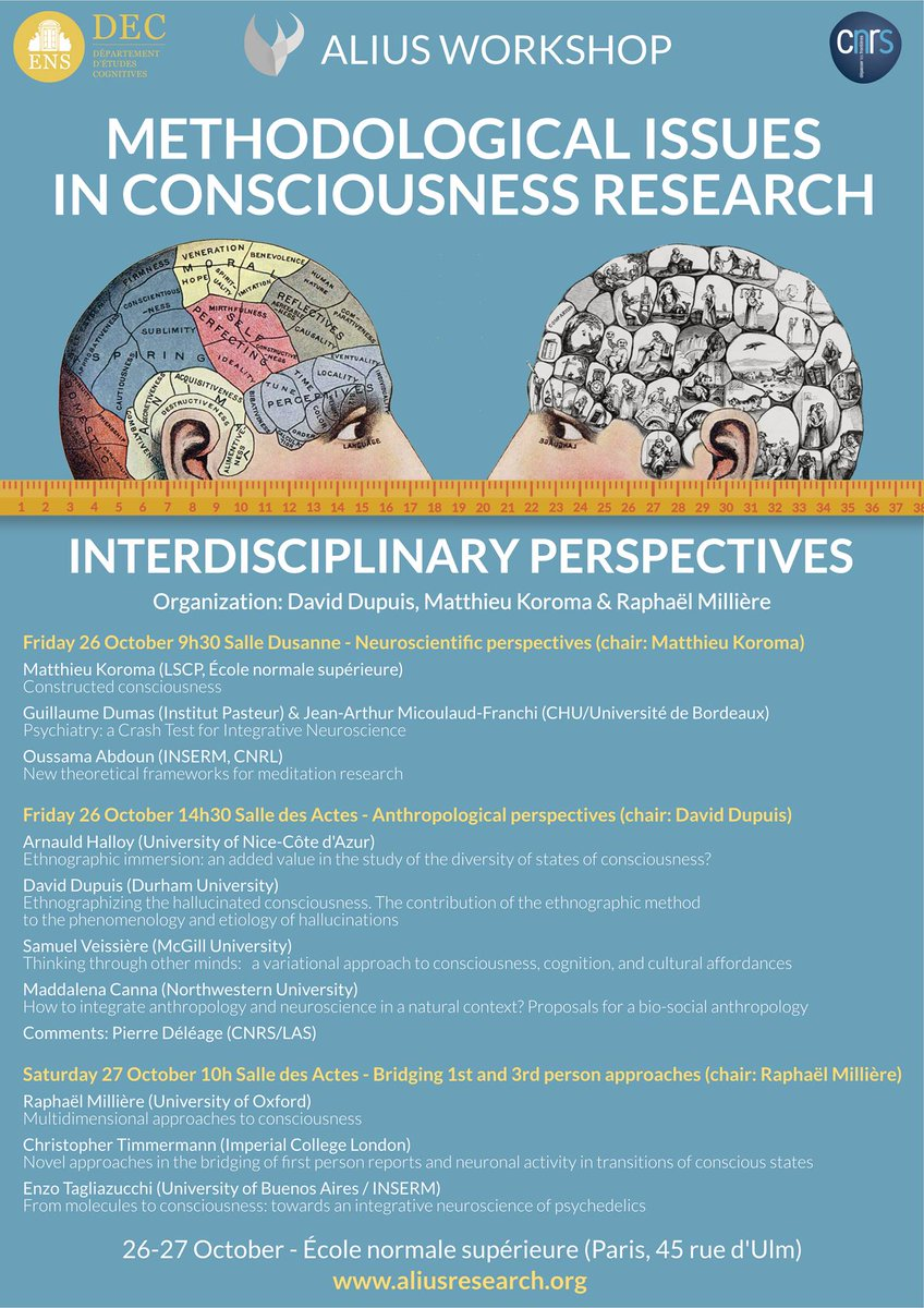 Happy to announce our next ALIUS's workshop! This year would be as usual very interdisciplinary but we will focus on the methodological aspects of consciousness research  I will speak w/@caimadja about our recent work in semiology & physiology   http:// aliusresearch.org     <br>http://pic.twitter.com/BSd0MaImH1