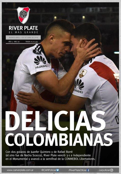 ¡#BuenMiercoles, Millonario! 🙌 📰 La tapa de la victoria ante Independiente y la clasificación a semifinales de la Libertadores. 🇨🇴⚽ #VamosRiver ⚪🔴⚪ Photo