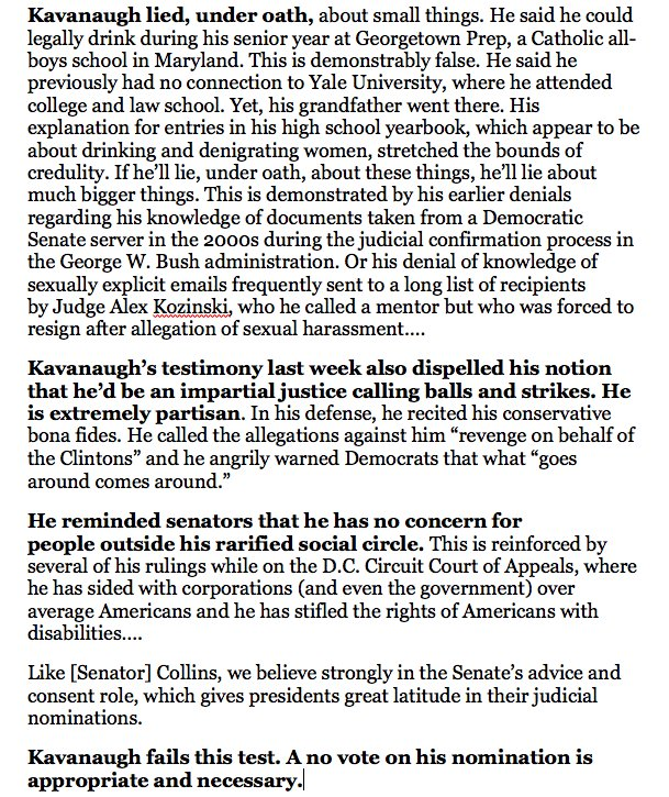 In a scathing editorial, one of Maines major newspapers, the Bangor Daily News, tells Senator Susan Collins: Brett Kavanaugh is unfit for the Supreme Court. bangordailynews.com/2018/10/02/opi…