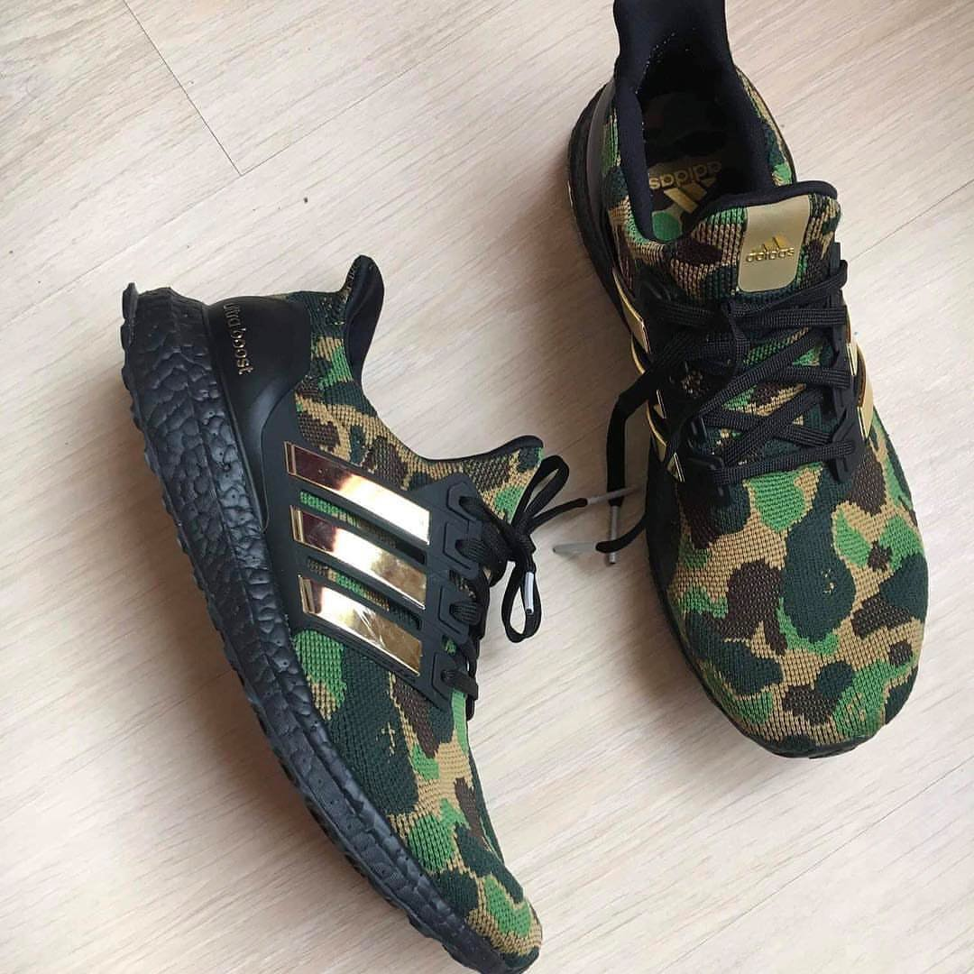 sports shoes 49359 7b1e4 ... BAPE x adidas Ultra Boost, featuring a unique knit upper atop a Black  Boost midsole, rumored to release during Super Bowl LIII in February 2019.