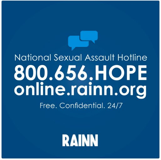 If you're ready to talk to someone: @RAINN @CrisisTextLine and the national domestic abuse hotline can all help. https://t.co/E7M9WAZHRQ