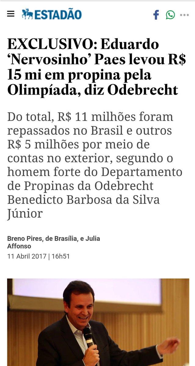 Para quem não lembra, o Nervosinho recebeu 15 milhões em propina pela Olimpíada. Ele diz que não é Ficha Suja, mas é. E ontem, admitiu. 😳☝️